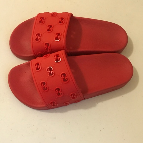 Gucci Shoes   Womens Red Slides   Poshmark
